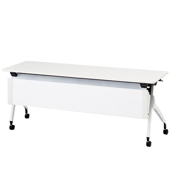 イトーキ折りたたみテーブル スクート 天板抗菌加工 スチール幕板付タイプ(棚なし) 幅180cm 奥行45cm 【自社便 開梱・設置付】