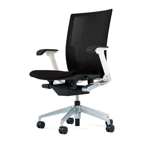 Office Chair Itoki Vento Ventchair Stripelayerfabric Adj Elbows With A Lumbar Support Silver Metallic Legs