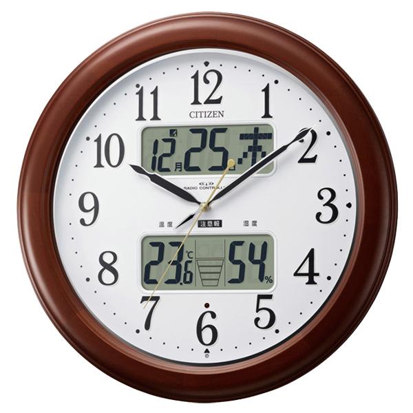 カレンダー・湿度計・温度計機能付/CITIZEN 電波時計(夜間自動点灯) インフォームナビEX