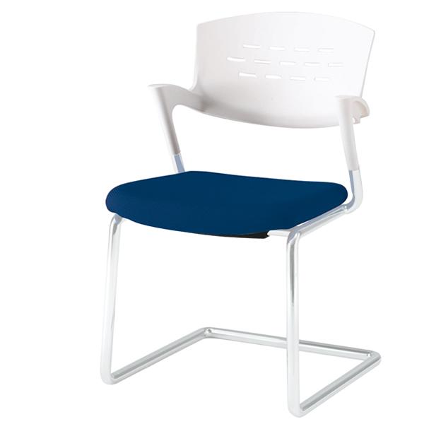 会議椅子/イトーキ カクタスチェア キャンティレバー脚 布張り 脚:Z5/シルバーメタリック【自社便/開梱・設置付】