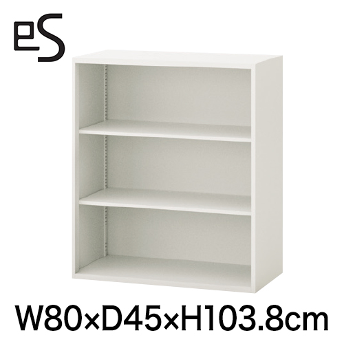 オフィス収納 エス キャビネット オープン棚 型 上段用 幅80cm 奥行45cm 高さ103.8cm 色:ホワイト系