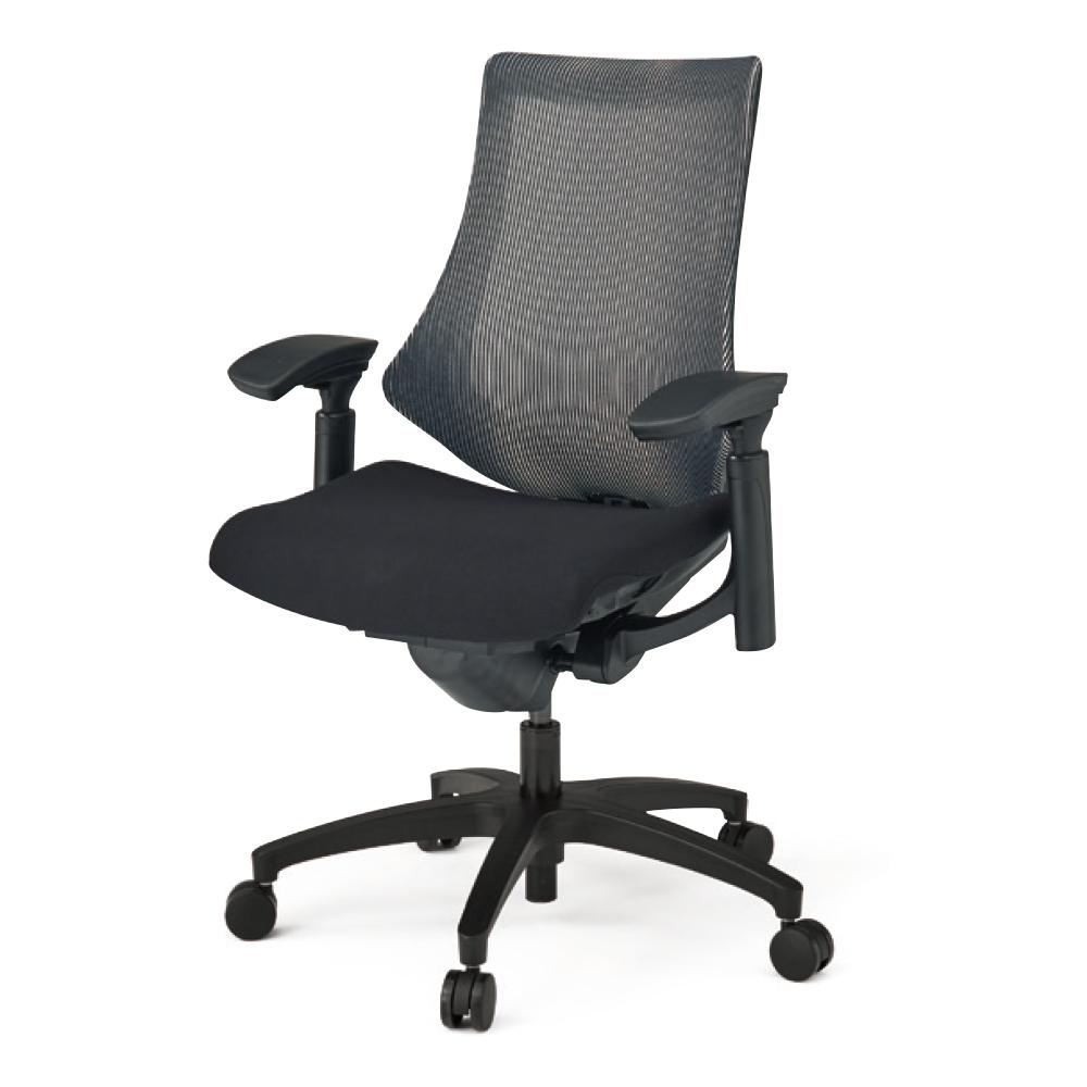 オフィスチェア メッシュ イトーキ エフチェア ストライプレイヤーファブリック ハイバック 可動肘 樹脂脚