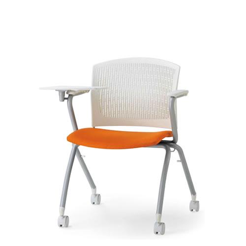 アイコ メモ台付チェア テーブル付き椅子 イス 背張りなし 両肘付 キャスター脚 スタッキング MC-383T