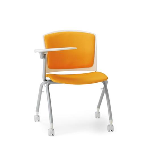 アイコ メモ台付チェア テーブル付き椅子 イス 背張り付き 片肘付 キャスター脚 スタッキング MC-392T