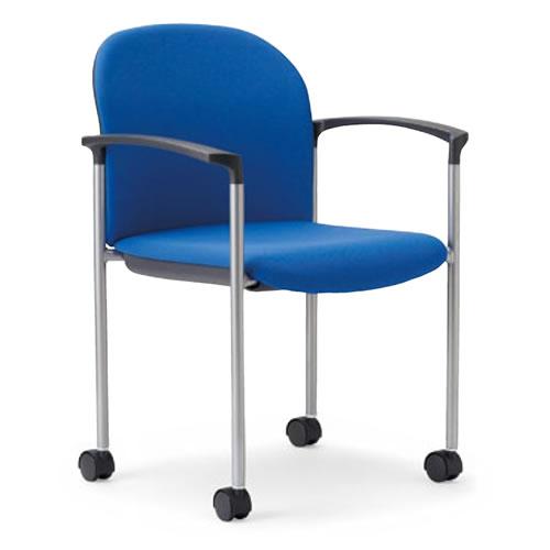 アイコ ミーティングチェア 椅子 会議チェア 肘付き キャスター脚 紛体塗装 丸背タイプ MC-863
