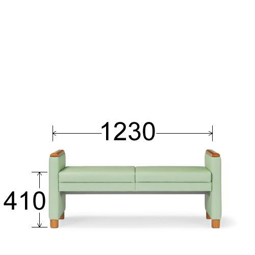 アイコ 病院 待合室 いす ロビーチェア ロビー用 長椅子 イス ロビーソファ ソファ 2人掛け 背なしタイプ LC-525