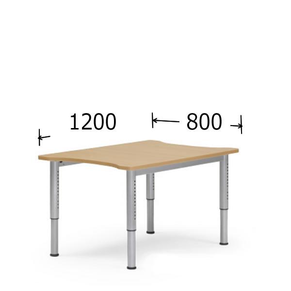 アイコ 会議用テーブル 塗装脚タイプ アジャスター付 幅800mm 奥行1200mm 長方形 高さ680~765mm NJT-8012