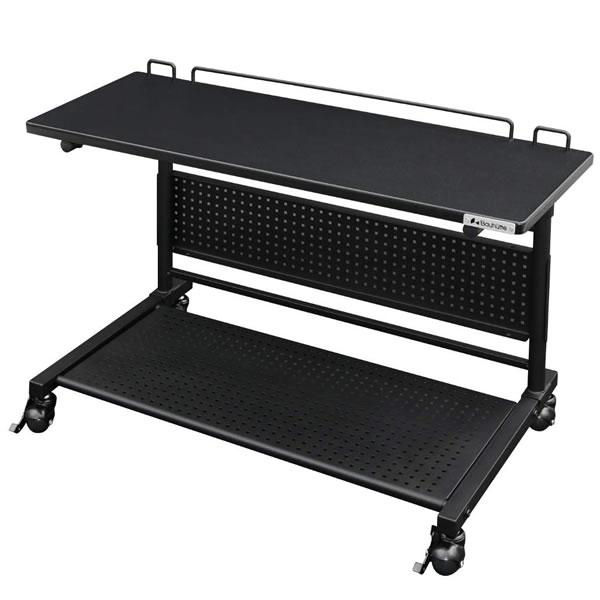 バウヒュッテ Bauhutte ロングサイドテーブル ベッドサイド昇降テーブル キャスター付き 幅800mm ブラック色 ゲーミング家具 BHT-800S-BK