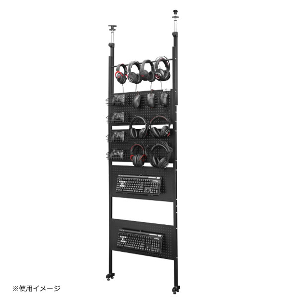 バウヒュッテ Bauhutte デバイスウォール 幅700×奥行100×高さ2280~2780mm ブラック ゲーミング家具 BHW-700-BK