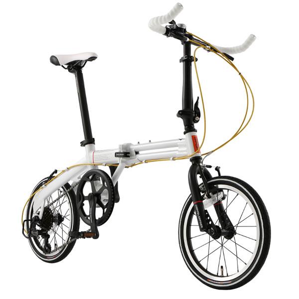 ドッぺルギャンガー DOPPELGANGER 16インチ折りたたみ自転車 ミニベロ Light Velocity ライト・ヴェロシティ シマノ7段変速 プレミアムパールホワイト 104-R-WH
