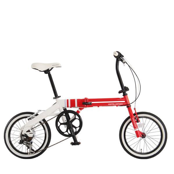 自転車 ミニベロ 折りたたみ ドッペルギャンガー 16インチ URBAN FLAMINGOアーバン フラミンゴ 6段変速 レッド×ホワイト 106