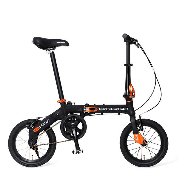 自転車 ミニベロ 折りたたみ ドッペルギャンガー HaKoVelo ハコベロ 14インチ アルミフレーム Vブレーキ ブラック×オレンジ 140-BK