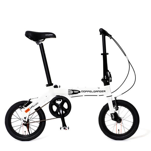 自転車 ミニベロ 折りたたみ ドッペルギャンガー HaKoVelo ハコベロ 14インチ アルミフレーム Vブレーキ ホワイト×ブラック 140-WH