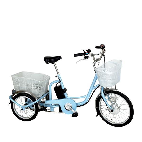 電動アシスト三輪自転車 アシらくチャーリー スカイブルー 自転車 ミムゴMIMUGO MG-TRM20EB