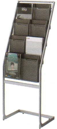 コクヨ パンフレットスタンド パンフレットラック ディスプレイラック 雑誌架 エントランス オフィス家具 A4 サイズ 厚型 トレー タイプ 2列4段 ZR-PS212