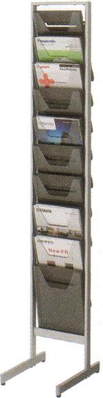 コクヨ パンフレットスタンド パンフレットラック ディスプレイラック 雑誌架 エントランス オフィス家具 A4 サイズ 薄型 トレー タイプ 1列10段 ZR-PS301