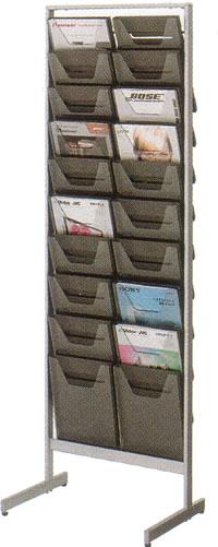 コクヨ パンフレットスタンド パンフレットラック ディスプレイラック 雑誌架 エントランス オフィス家具 A4 サイズ 薄型 トレー タイプ 2列10段 ZR-PS302