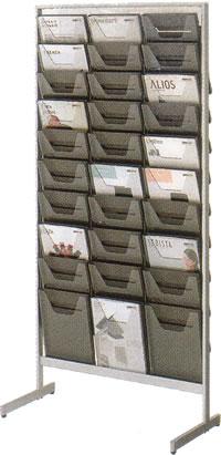 コクヨ パンフレットスタンド パンフレットラック ディスプレイラック 雑誌架 エントランス オフィス家具 A4 サイズ 薄型 トレー タイプ 3列10段 ZR-PS303