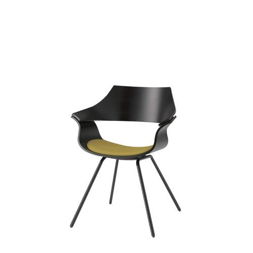 イトーキ 会議椅子 ミーティングチェアー DAチェア キャスターなし 塗装タイプ 背パッドなし ウレタンレザー KDA-110DR
