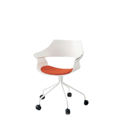 イトーキ 会議椅子 ミーティングチェアー DAチェア キャスター付 塗装タイプ 背パッドなし ウレタンレザー KDA-130DR