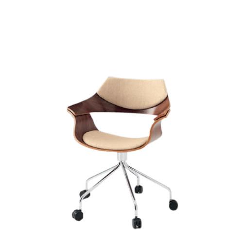 イトーキ 会議椅子 ミーティングチェアー DAチェア キャスター付 突板タイプ 背パッド付 布張り KDA-140C-Z9