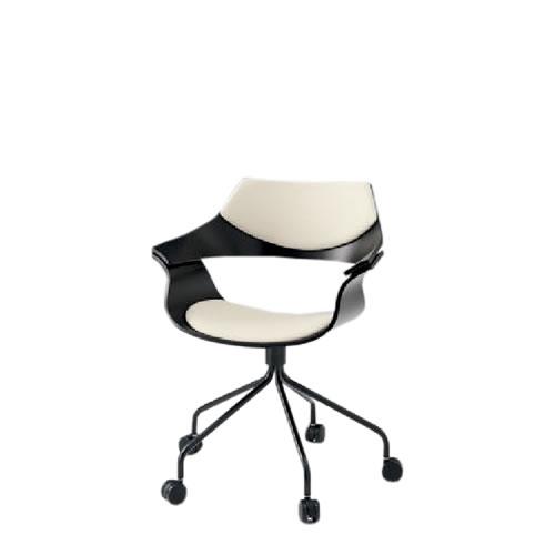 イトーキ 会議椅子 ミーティングチェアー DAチェア キャスター付 塗装タイプ 背パッド付 ウレタンレザー KDA-140DR