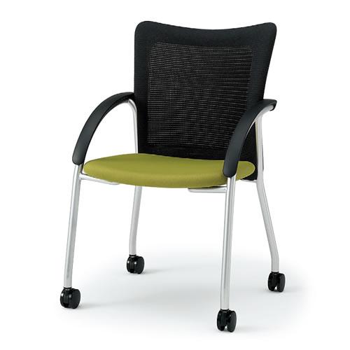 イトーキ 会議椅子 ミーティングチェアー KE 4本脚 キャスター付 クロームメッキ KE-515GB-Z9