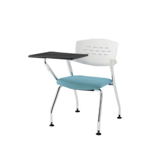 イトーキ 会議椅子 ミーティングチェアー カスタスチェア 4脚 固定脚 メモ台付 シルバーメタリック塗装 KH-226GB-Z5