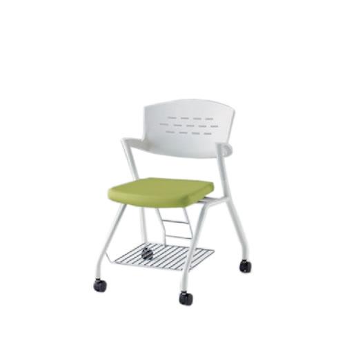 イトーキ 会議椅子 ミーティングチェアー カクタスSCチェア ナイロンキャスター 棚なし メモ台付 布張り KH-349GB