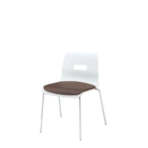 イトーキ 会議椅子 ミーティングチェアー アンビアチェア 4本脚タイプ スタッキング チェア クッション付タイプ クロームメッキ脚 ビニールレザー KJA-320DFZ9