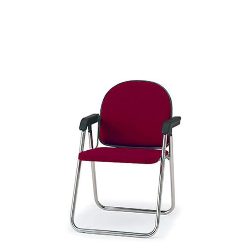 イトーキ 折りたたみ椅子 会議椅子 パイプイス バネ座 肘付き スチールパイプクロームメッキ脚(サークル脚) ビニールレザー KKA-419DDN-Z9