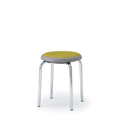 イトーキ 丸イス 丸椅子 スツール スツール スタッキング 座回転式 4本脚 スチールパイプクロームメッキ ビニールレザー イトーキKKR-420DF-Z9