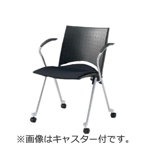 イトーキ 会議椅子 ミーティングチェアー 椅子 レコスチェア 背パッドなし キャスター付 肘付 KLA-255GB