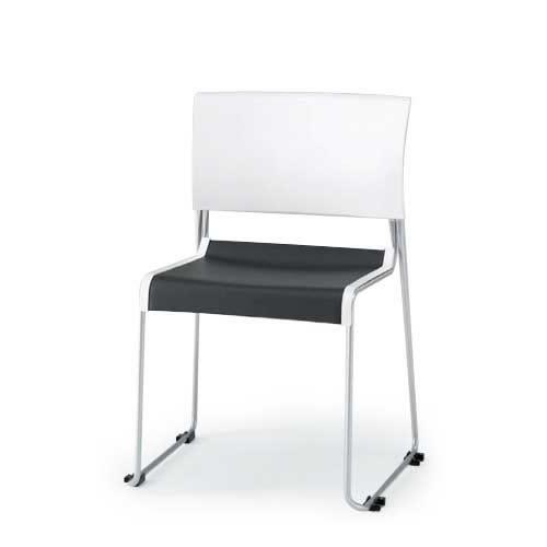 イトーキ 会議椅子 ミーティングチェアー ルベックチェア スタッキング 横連結 背ヌードタイプ ステンレスパイプ脚 布張り イトーキKLC-211GBZ9