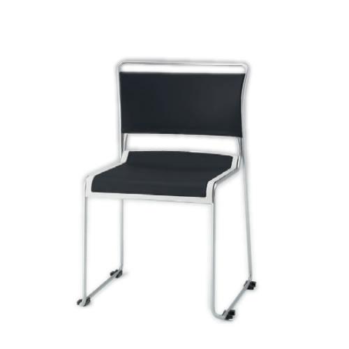 イトーキ 会議椅子 ミーティングチェアー ルベックチェア スタッキング 横連結 背クッションタイプ ステンレスパイプ脚 布張り イトーキKLC-221GBZ9