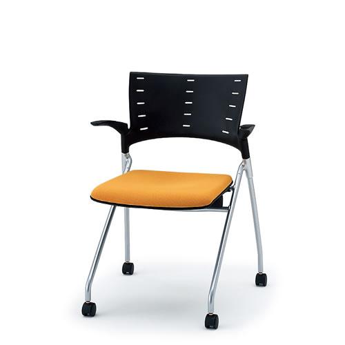 イトーキ 会議椅子 ミーティングチェアー MANOSS マノスチェア キャスター脚 ネスタブル 背パッドなし 肘付 棚なし KLD-315GB