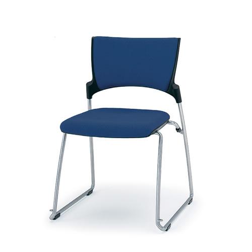 イトーキ 会議椅子 ミーティングチェアー MANOSS マノスチェア サークル脚 スタッキング 背パッド付 肘なし KLD-340GB