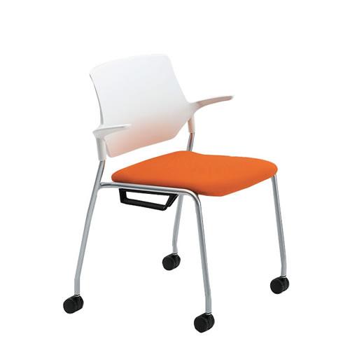 イトーキ 会議椅子 ミーティングチェアー ステンザチェア キャスター付 樹脂バック 再生布地(GB) KLC-565