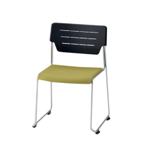 イトーキ 会議椅子 ミーティングチェアー エレックチェア スタッキング 横連結 背パットなし スチールパイプ紛体塗装脚 ビニールレザー イトーキKLC-610DF