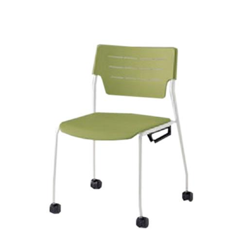 イトーキ 会議椅子 ミーティングチェアー エレックSCチェア 4本脚 ウレタン双輪キャスター スタッキング 背座ヌード イトーキKLC-954-S