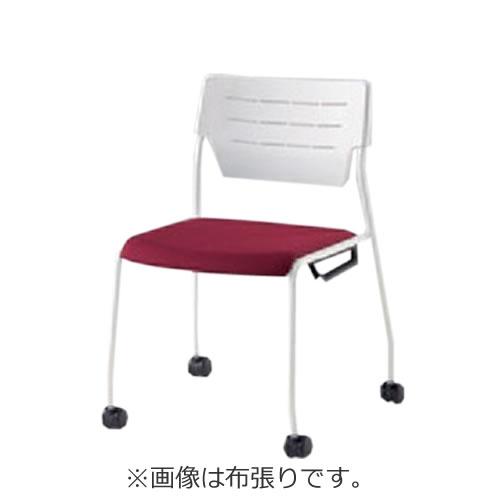 イトーキ 会議椅子 ミーティングチェアー エレックSCチェア 4本脚 ナイロン双輪キャスター スタッキング 背パットなし 布張り イトーキKLC-955GB