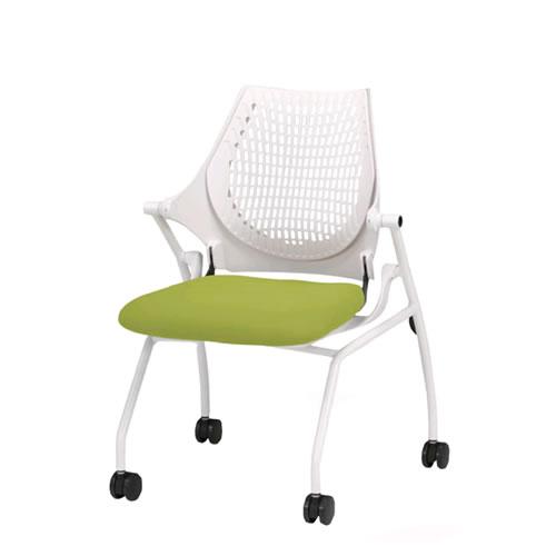イトーキ 会議椅子 ミーティングチェアー イプサ ipsa 肘なし 樹脂メッシュバック 布張り ロッキングなし 4本脚キャスター付き KLD110NGS
