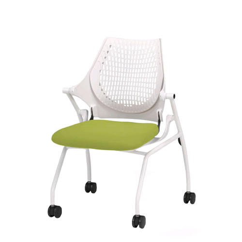 イトーキ 会議椅子 ミーティングチェアー イプサ ipsa 肘なし 樹脂メッシュバック 布張り ロッキング付 4本脚キャスター付き KLD140NGS