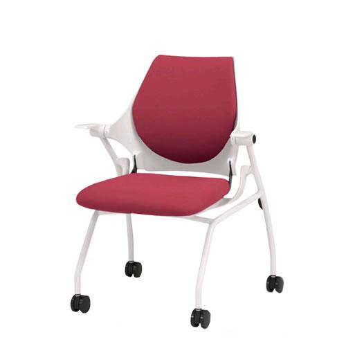 イトーキ 会議椅子 ミーティングチェアー イプサ ipsa 肘付 クロスバック 布張り ロッキング付 4本脚キャスター付き KLD155NGS