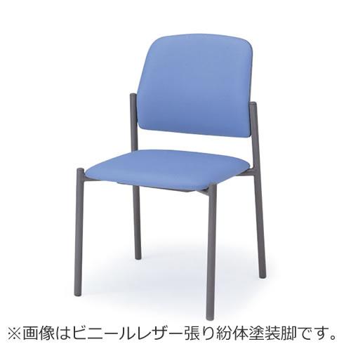 イトーキ 会議椅子 ミーティングチェアー LK キャスターなし スタッキング 肘なし クロームメッキ脚 ビニールレザー イトーキKLK-160DF-Z9