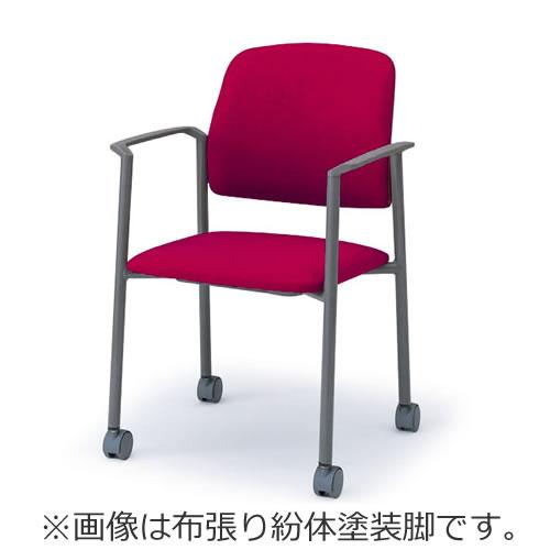 イトーキ 会議椅子 ミーティングチェアー LK キャスター付 スタッキング 肘あり 紛体塗装脚 ビニールレザー KLK-167DF-W4