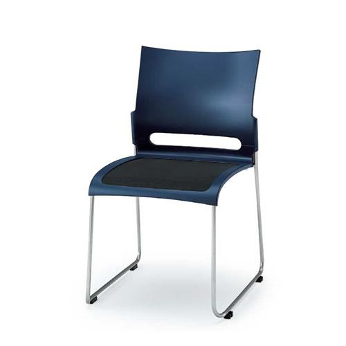 イトーキ 会議椅子 ミーティングチェアー コンフィットチェア スタッキング 横連結 メッシュサスペンション ステンレスパイプ脚 ブラックメッシュ KLK-310B-Z9NV