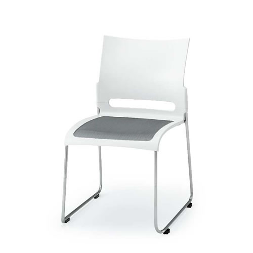 イトーキ 会議椅子 ミーティングチェアー コンフィットチェア スタッキング 横連結 メッシュサスペンション スチールパイプ脚 シルバーメッシュ イトーキKLK-310S-Z5WT