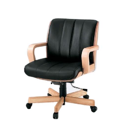 イトーキ R-1タイプ エグゼクティブチェア 社長椅子 役員椅子 ミドルイバック 肘付 突板張り 背裏ローズ 皮革 KWR-139LA