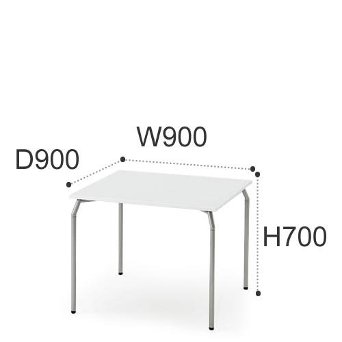 イトーキ ミーティングテーブル ダイニング インテリア タクシステーブル 角テーブル W900 D900×700 4本脚 シルバーメタリック脚 ホワイトW脚TKJ-0997F